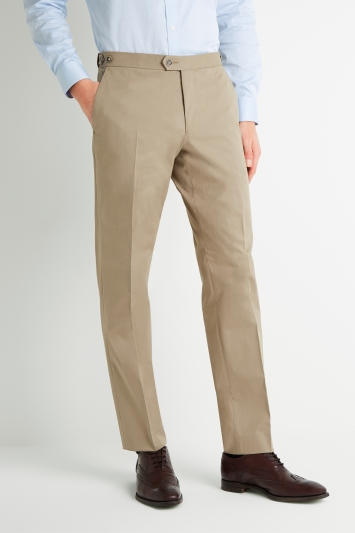 Savoy Taylors Guild Tailored Fit Beige Cotton Trousers