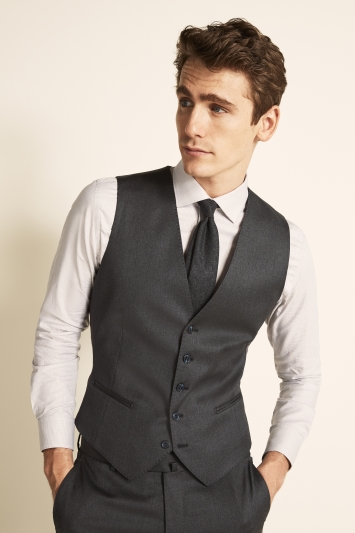 Savoy Taylors Guild Tailored Fit Grey Twill Waistcoat