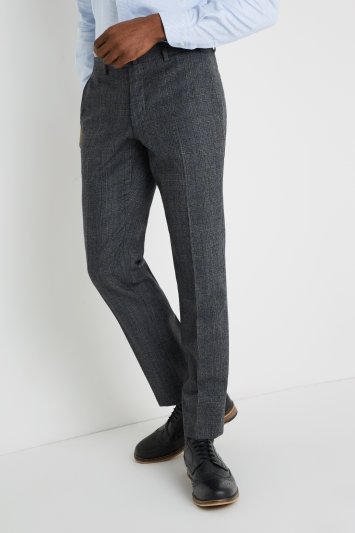 Savoy Taylors Guild Tailored Fit Grey with Blue Prince Of Wales Check Trousers