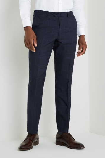 Savoy Taylors Guild Tailored Fit Navy Micro Check Trousers