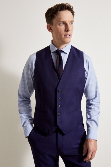 Savoy Taylors Guild Tailored Fit Blue Sharkskin Waistcoat