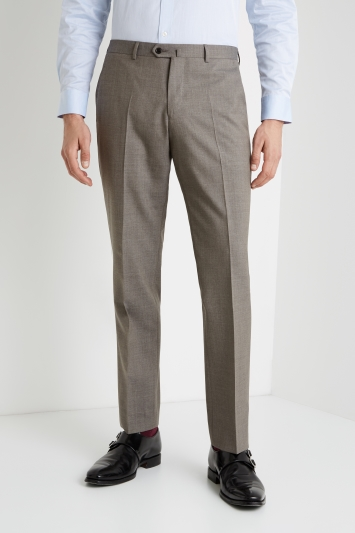 Savoy Taylors Guild Tailored Fit Taupe Grey Trousers