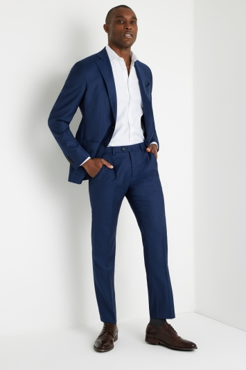 Savoy Taylors Guild Tailored Fit Blue Semi Plain Jacket
