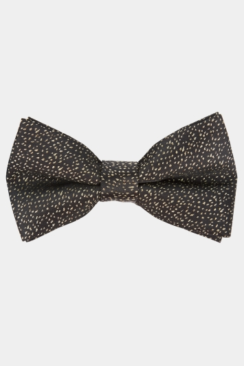 Moss London Black & Gold Woven Bow Tie