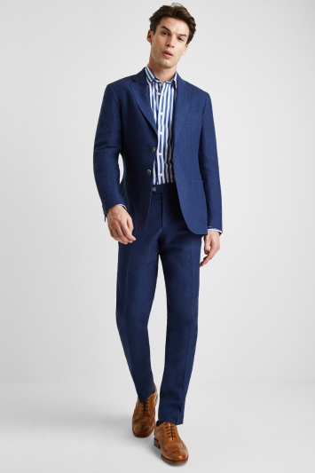 Savoy Taylors Guild Tailored Fit Royal Blue Linen Jacket