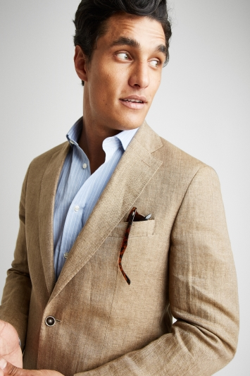 Savoy Taylors Guild Tailored Fit Beige Herringbone Linen Jacket