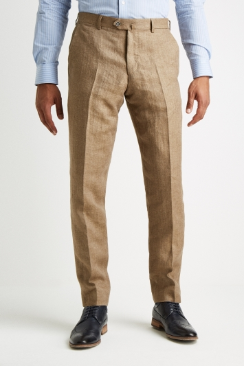 Savoy Taylors Guild Tailored Fit Beige Herringbone Linen Trousers