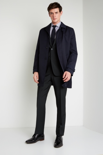 Savoy Taylors Guild Tailored Fit Navy Raincoat