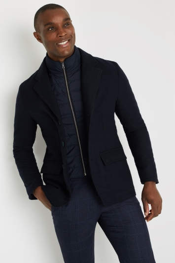 Savoy Taylors Guild Tailored Fit Navy Quilted Jacket with Nylon Insert