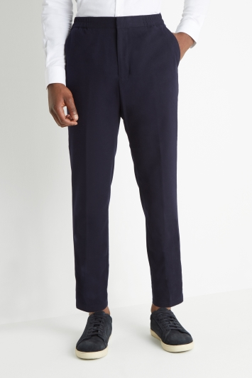 Moss London Slim Fit Navy Flannel Elastic Waist Trousers