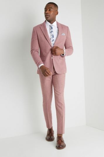 Moss London Slim Fit Pink Herringbone Tweed Jacket