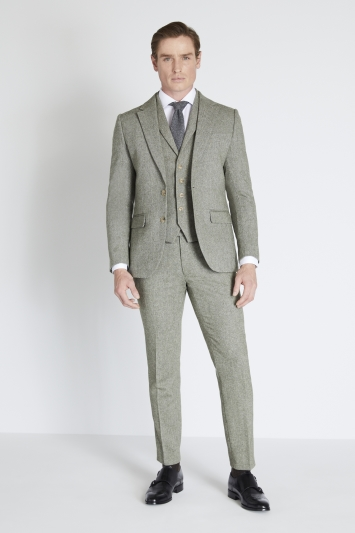 Moss London Skinny Fit Sage Herringbone Tweed Jacket