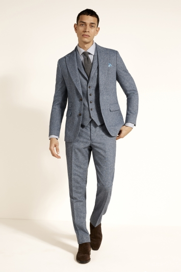 Moss London Slim Fit Blue Herringbone Tweed Jacket