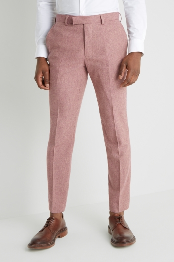 Moss London Skinny fit Pink Herringbone Tweed Trousers