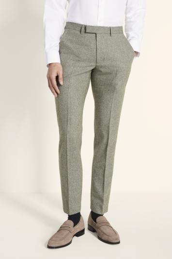 Moss London Slim Fit Sage Herringbone Tweed Trousers