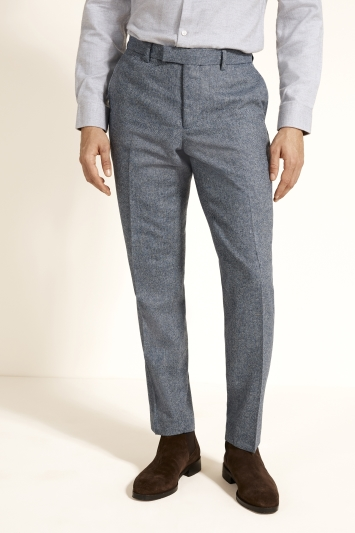 Moss London Slim Fit Blue Herringbone Tweed Trousers