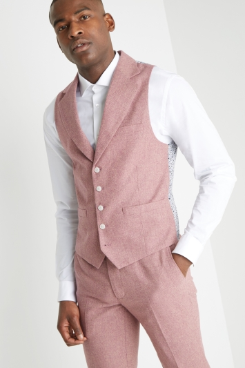 Moss London Slim Fit Pink Herringbone Tweed Waistcoat
