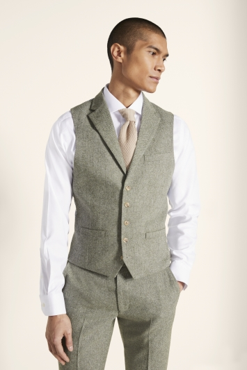 Moss London Sage Herringbone Tweed Waistcoat