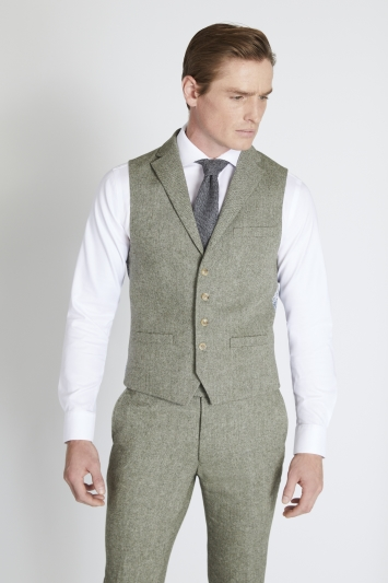 Moss London Slim Fit Sage Herringbone Tweed Waistcoat