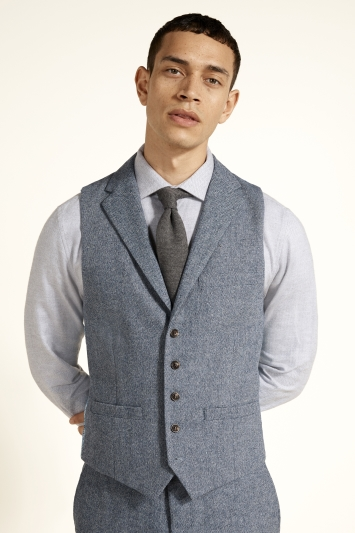 Moss London Slim Fit Blue Herringbone Tweed Waistcoat
