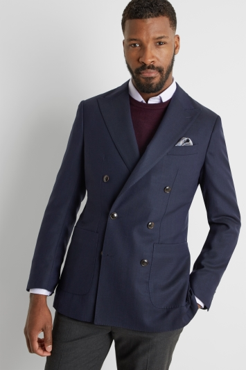 b560fef5 Moss 1851 Tailored Fit Navy Double Breasted Travel Blazer