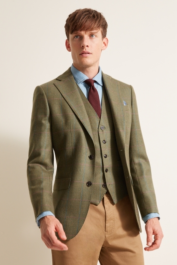 bd5a5119 Moss 1851 Tailored Fit Green Multi Check Jacket