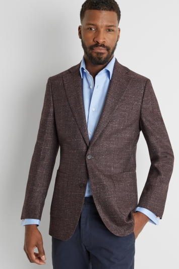 Moss 1851 Tailored Fit Burgundy Texture Jacket
