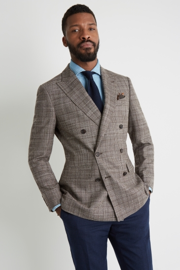 Moss 1851 Tailored Fit Brown Check Double Breasted Jacket