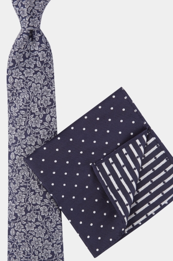 Moss 1851 Navy & Silver Floral Tie, Pocket Square & Cufflink Boxed Gift Set