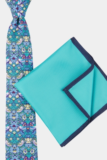 Moss London Purple Bird Printed Tie with Teal Border Pocket Square Boxed Gift Set