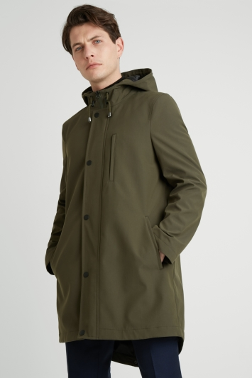 Moss London Slim Fit Khaki Green Hooded Parka