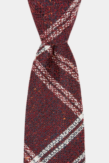 Savoy Taylors Guild Wine with White Check Italian Tie