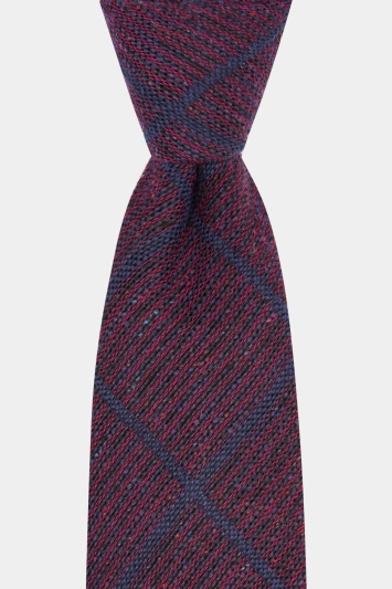 Savoy Taylors Guild Wine with Navy Windowpane Italian Tie