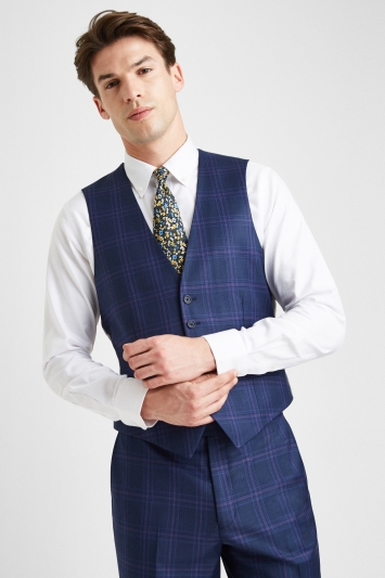 Ted Baker Tailored Fit Blue with Purple Check Waistcoat