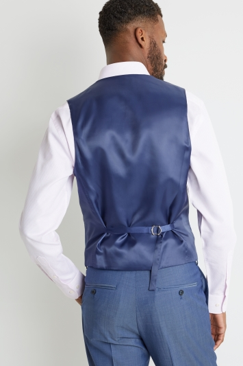 Ted Baker Tailored Fit Faded Blue Twill Double Breasted Waistcoat