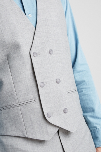 Ted Baker Tailored Fit Light Grey Crepe Double Breasted Waistcoat