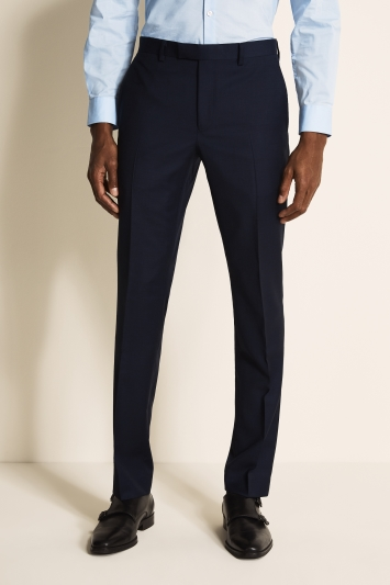 DKNY Slim Fit Navy Panama Open Weave Trousers