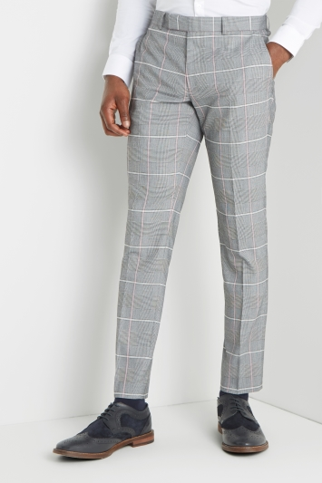 Moss London Slim Fit Pink White Check Trousers