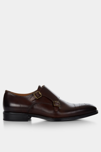 John White Fenton Brown Performance Double-Buckle Monk Shoe