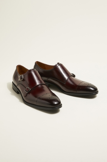 John White Fenton Performance Burgundy Double-Buckle Monk Shoe