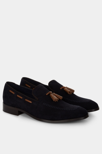 Moss 1851 Kingston Navy Suede Contrast Tassel Loafer Shoe