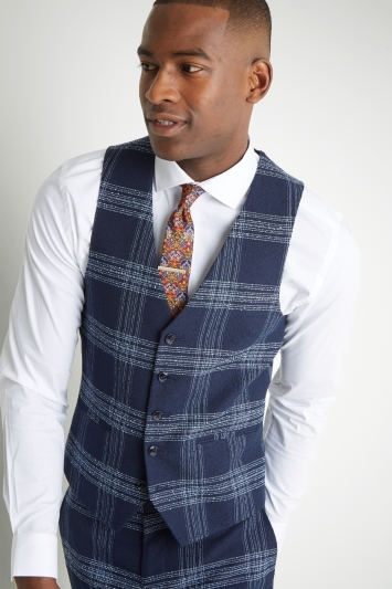 7471327291b0d Moss London Slim Fit Blue Boucle Unstructured Waistcoat