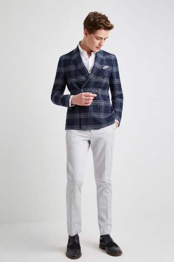Moss London Skinny Fit Blue Boucle Unstructured Double Breasted Jacket