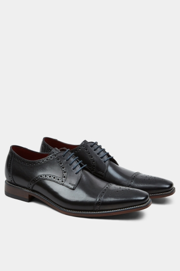Loake Foley Black Semi-Brogue Derby Shoe
