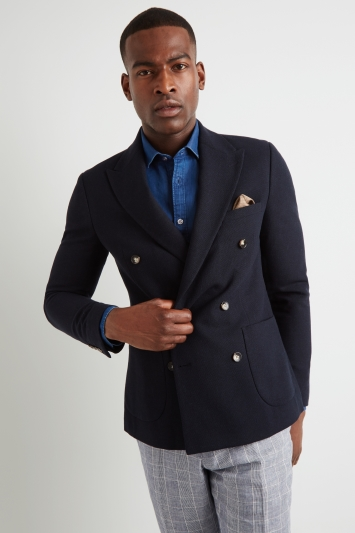 Moss London Slim Fit Navy Double Breasted Jacket