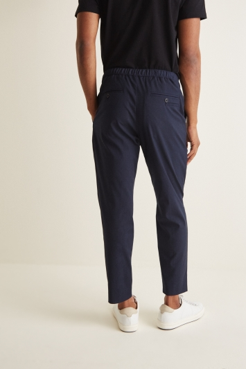 Moss London Slim Fit Blue Drawstring Waist Pleated Trousers