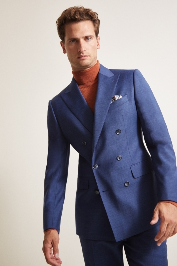 Moss 1851 Tailored Fit Blue Sharkskin Double Breasted Jacket