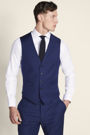 Moss 1851 Tailored Fit Navy Twill Waistcoat