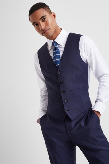 Moss 1851 Tailored Fit Subtle Blue Check Waistcoat