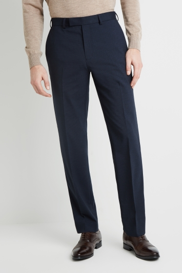 Moss Esq. Regular Fit Navy Broken Check Trousers